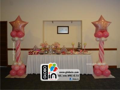 Columna de globos para Bautizo Ninas
