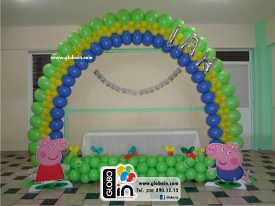 Arco de globos George y Peppa Pig