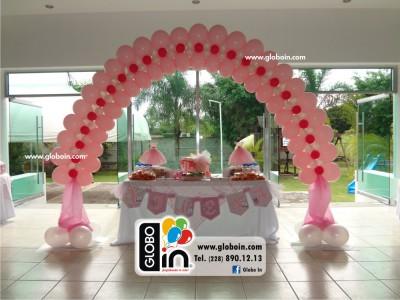 Arco plano de globos rosa